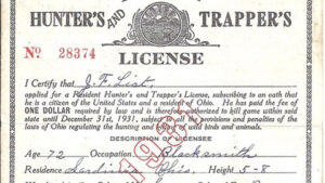 Ohio Hunter's and Trapper's License from 1931